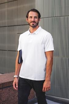 White polo shirt street style menswear fashion apparel shoot