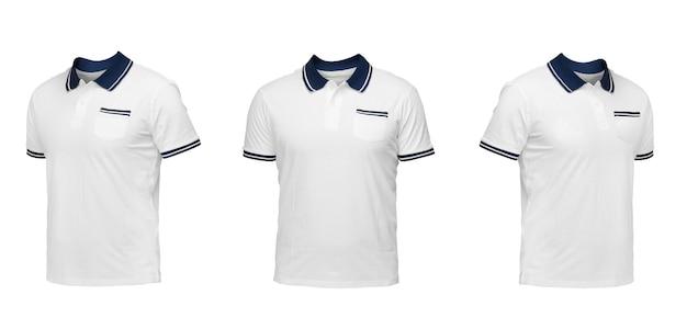 ブルーカラーの白いポロシャツ。白い背景の上の3つの位置のtシャツ正面図