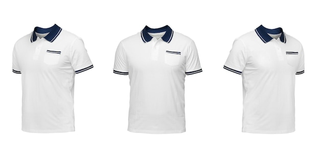 White polo shirt with a blue collar. t-shirt front view three positions on a white background