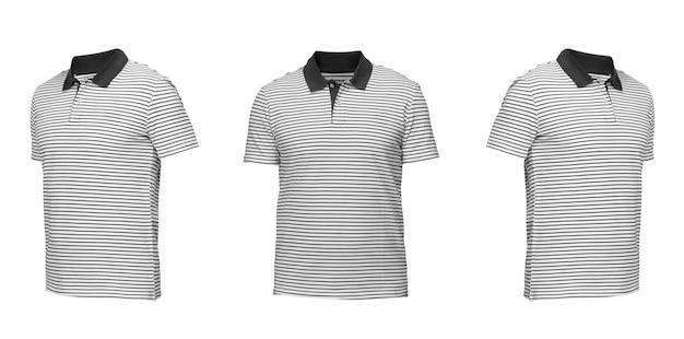줄무늬가 있는 흰색 폴로 셔츠. 흰색 배경에 t-셔츠 전면 보기 세 위치