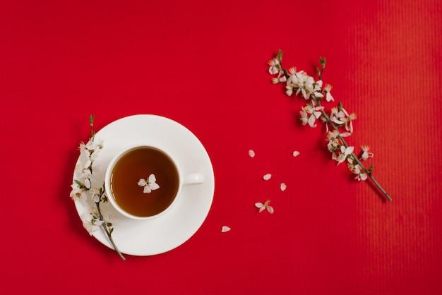 Белая фарфоровая чашка с черным чаем. ветки цветущей яблони лежат на красном фоне. концепция весны и любви. копировать пространство