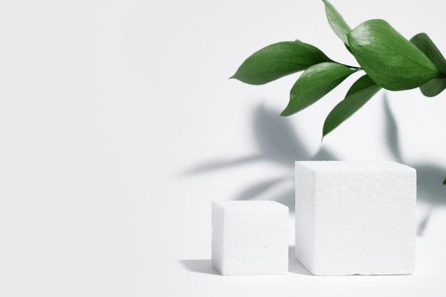 흰색 다공성 큐브, 흰색 회색 배경에 잎과 그림자가 있는 정사각형 연단. 개념적 장면, 신제품, 프레젠테이션, 판매, 광고, 배너, 화장품 쇼케이스. 복사 공간