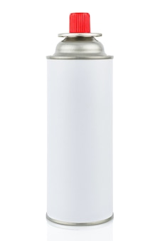 White portable gas cylinder for portable gas appliances with closed red cap isolated on white background