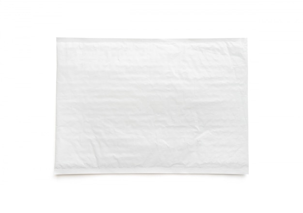 White postal package. plastic parcel object background.