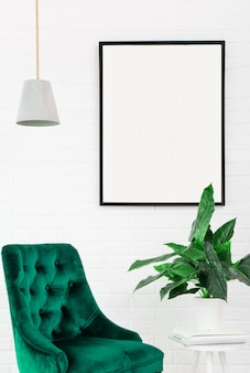 White poster frame mock free text chair