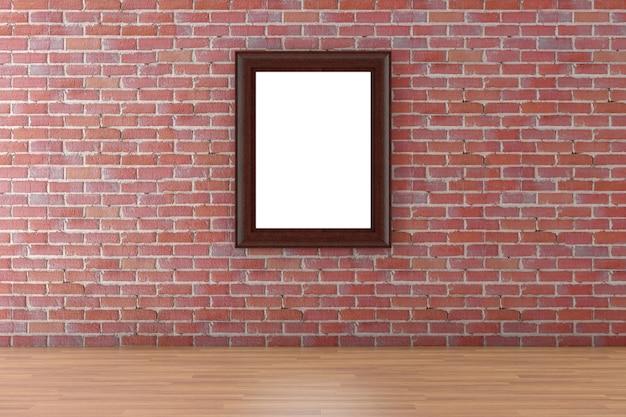 白いポスターまたは赤レンガの壁の背景にぶら下がっているあなたのデザインのための空きスペースのある木製の額縁極端なクローズアップ。 3dレンダリング