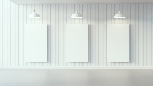 White poster on white wooden wall and interior design / 3d render image