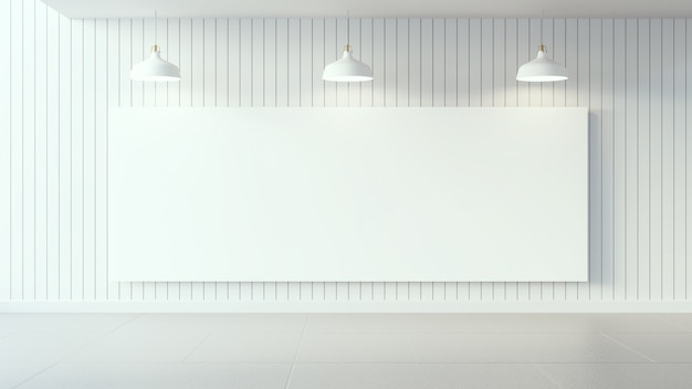 White poster on white wooden wall and interior design