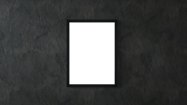 White poster with black frame on black wall mockup. 3d rendering.