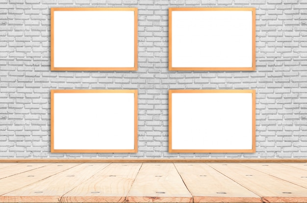 White poster with wood frame mockup on brick wall. mock up.