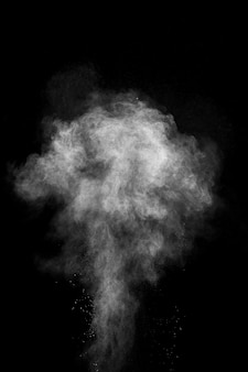 黒の背景に分離された白い粉塵爆発。白いほこりの粒子が飛び散る。カラーホーリー祭。