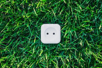 White power outlet on green grass