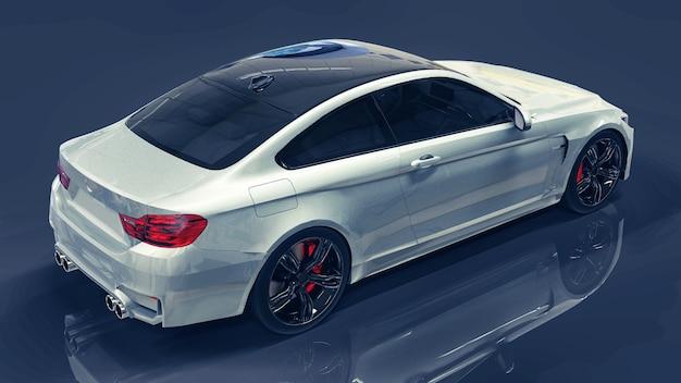 흰색 프리미엄 자동차입니다. 진한 파란색 배경에 3차원 그림입니다. 3d 렌더링.
