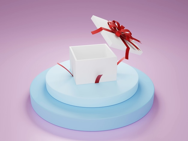 White present box with red ribbon on soft blue podium 3d illustration rendering