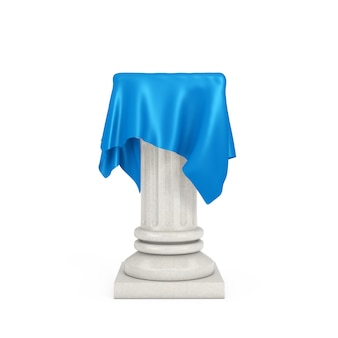 흰색 바탕에 파란색 실크 천으로 흰색 프레젠테이션 열 받침대. 3d 렌더링