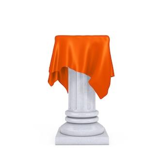흰색 바탕에 주황색 실크 천으로 된 흰색 프레젠테이션 열 받침대. 3d 렌더링