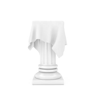 흰색 배경에 점토 스타일의 실크 천으로 된 흰색 프레젠테이션 열 받침대. 3d 렌더링