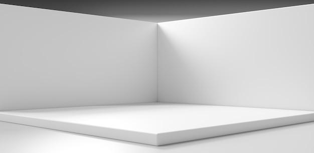 白い製品の背景と空の空白スペースコーナールームの壁は、スタジオショーケース付きのインテリアステージプラットフォーム台座表彰台シーンの背景に最小限のモダンなデザインを表示します。 3dレンダリング。