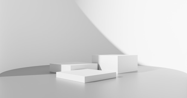 白い製品の背景または空の空白スペースの部屋のデザインと、スタジオショーケース付きの内部表彰台台座シーンの背景スタンドの抽象的な最小限の影のテンプレート表示プラットフォームステージ。 3dレンダリング。