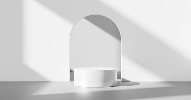 白い製品の背景または空の空白スペースの部屋のデザインと、スタジオショーケース付きの内部表彰台台座シーンの背景スタンドにあるウィンドウライトの最小限のシャドウディスプレイプラットフォームステージ。 3dレンダリング。