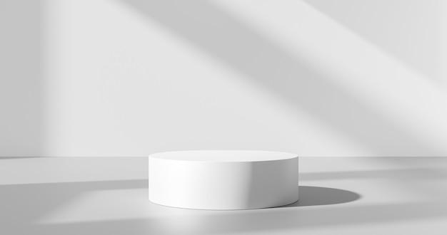 흰색 제품 배경 또는 빈 공간 공간 디자인 및 창 조명 최소 그림자 디스플레이 플랫폼 무대는 스튜디오 쇼케이스가 있는 내부 연단 장면 배경 스탠드에 있습니다. 3d 렌더링.