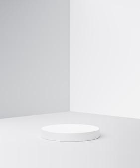 빈 배경으로 광고 실 디스플레이에 흰색 제품 배경 스탠드 또는 연단 받침대. 3d 렌더링.