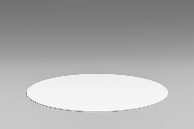 White product background stand or podium pedestal on advertising room display with blank backdrops. 3d rendering.