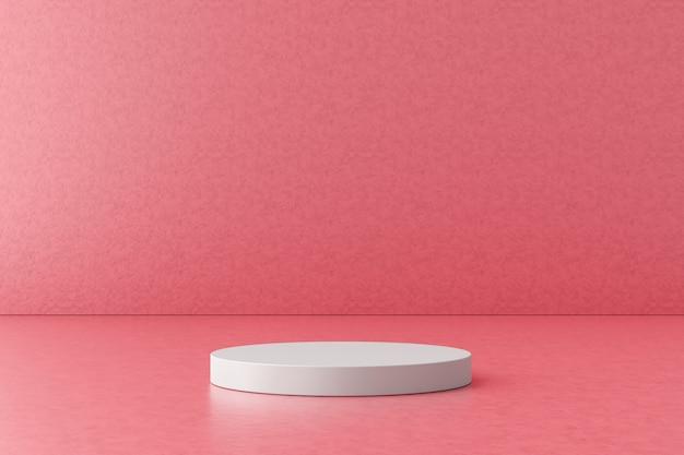 ピンクの背景に白い製品のディスプレイまたは表彰台。デザインのためのモダンな台座。 3dレンダリング。