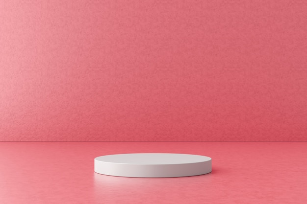 White product display or podium stand on pink background . modern pedestal for design. 3d rendering.