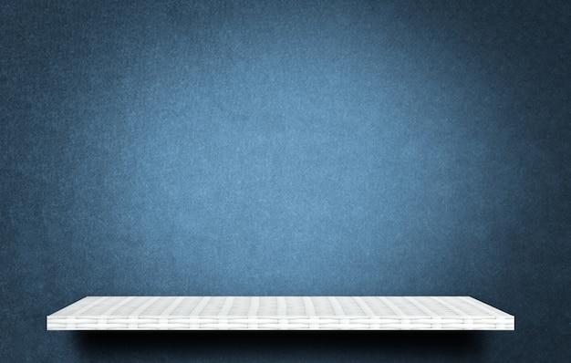 White product display shelf on blue background