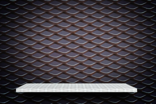 White product display shelf on metal grill background