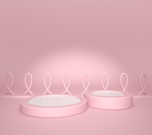White product display or showcase pedestal on chart pink background