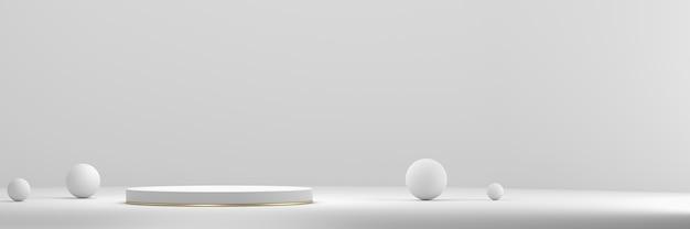 화이트 제품 디스플레이 무대 연단 배경 3d 렌더링.