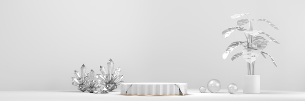 White product display stage podium with crystal and plant background 3d rendering.