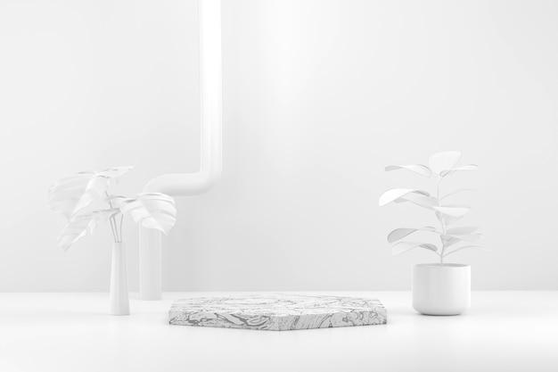 공장 배경 3d 렌더링 화이트 제품 디스플레이 무대 연단.