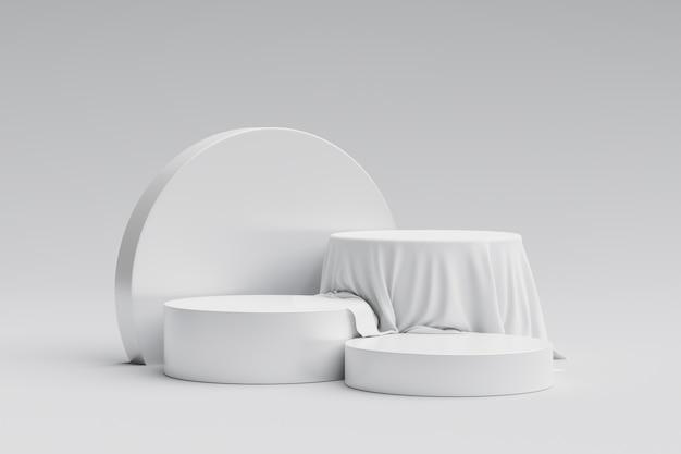 Белая выставочная витрина продукта или пьедестал подиума на рекламном фоне с пустыми фонами. 3d-рендеринг.