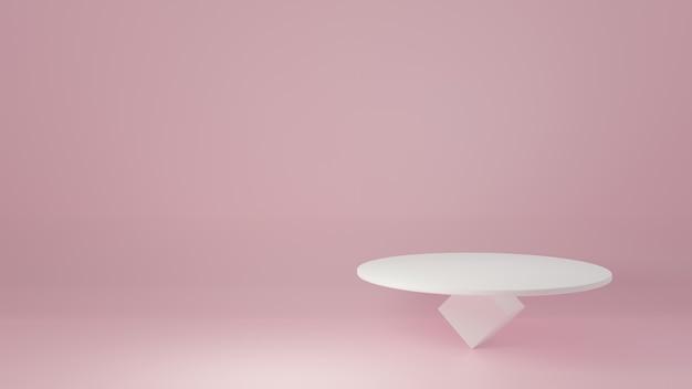 製品の最小限のdesign3dレンダリングのためのピンクの部屋のスタジオシーンに白い製品スタンド