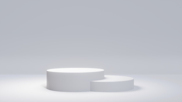 White product stand on white background. abstract minimal geometry concept.
