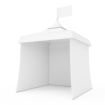 White promotional advertising outdoor event trade show mockup tent with flag on a white background. 3d rendering