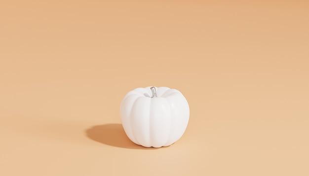 Белая тыква на бежевом минимальном фоне для рекламы на осенних праздниках или распродажах, 3d визуализация