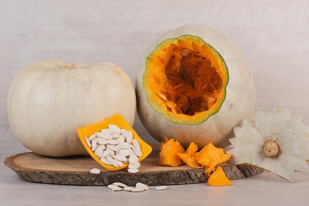 White pumpkin and pumpkin seeds.