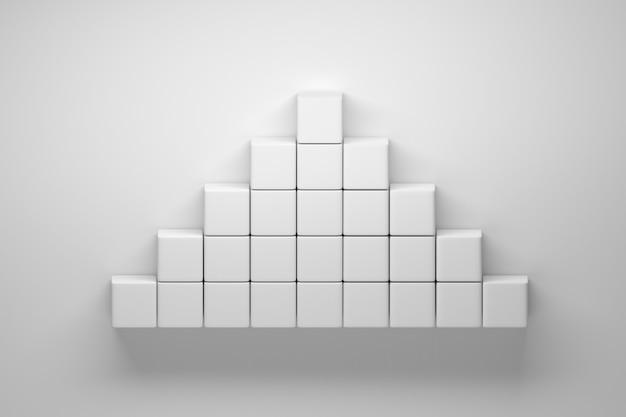 흰색 배경에 큐브 만든 흰색 피라미드. 3d 그림.