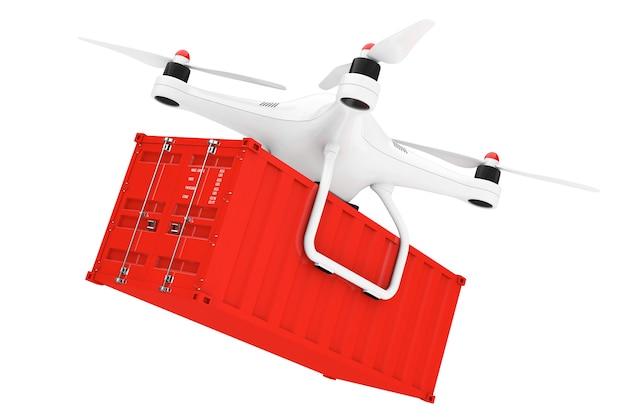 흰색 바탕에 화물 컨테이너가 있는 흰색 quadrocopter 드론. 3d 렌더링