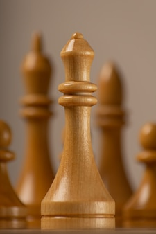 White queen on the background of the rest of the chess pieces