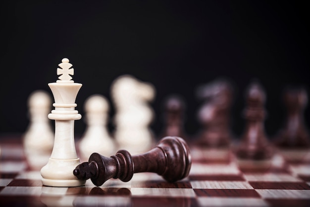 White queen chess of competition business strategy with victory , success and winning concept