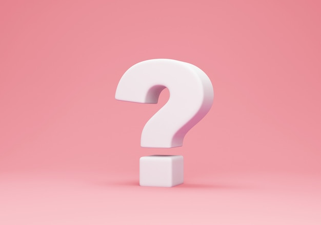 White question mark on pink