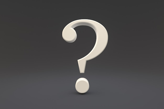 White question mark sign minimal on black background, 3d render, minimal and copy space