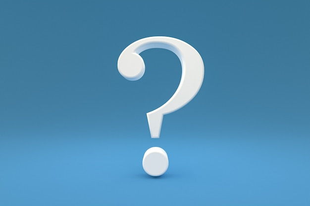 White question mark sign minimal on blue background, 3d render, minimal and copy space