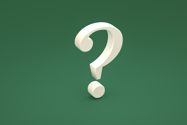 White question mark sign minimal on green background, 3d render, minimal and copy space