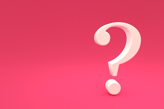 White question mark sign minimal on pink background, 3d render, minimal and copy space